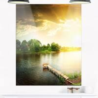 Lake Under Evening Sun - Landscape Photo Glossy Metal Wall Art