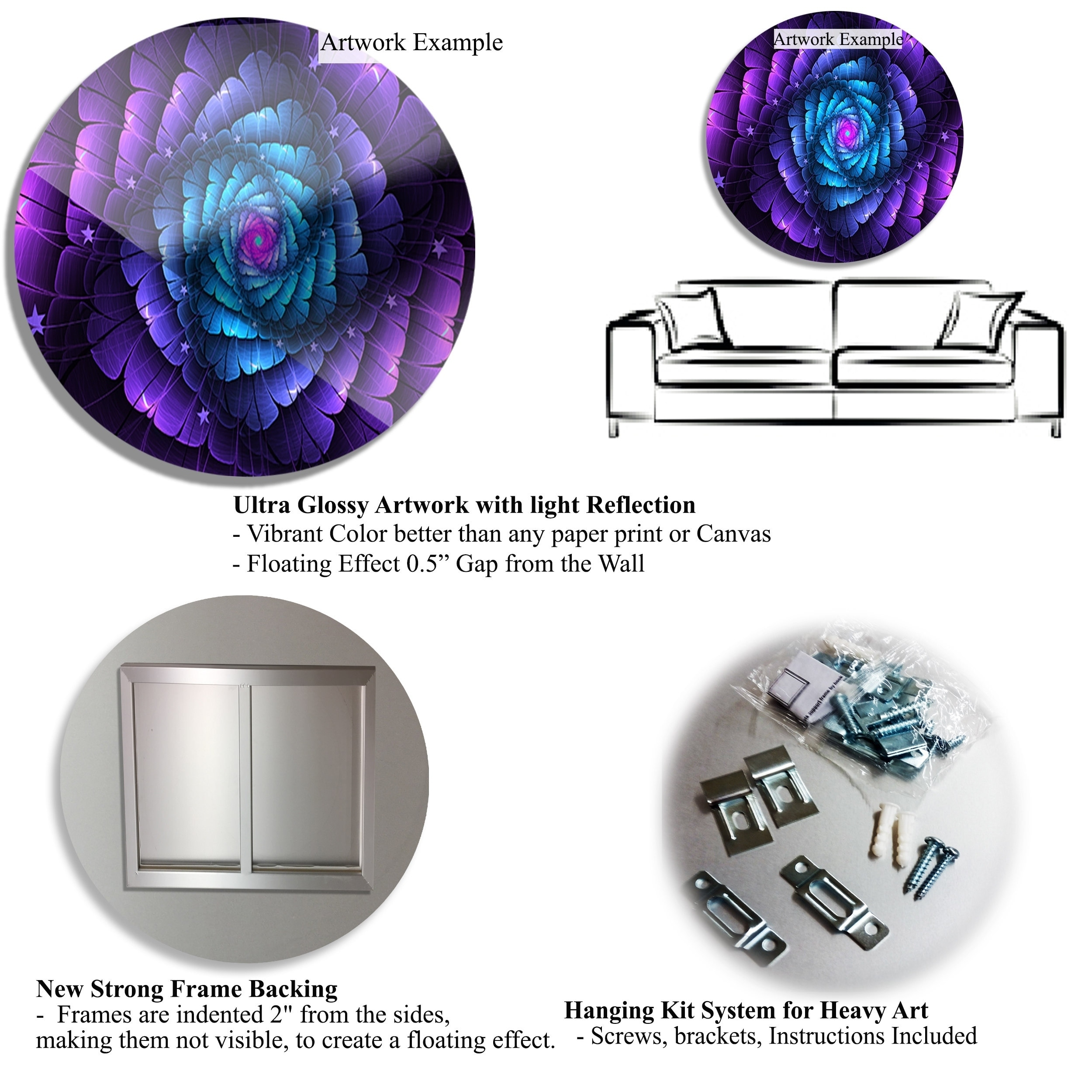 Designart Bright Purple Shade Upward Abstract Digital Disc Metal Wall Art Overstock 19842211
