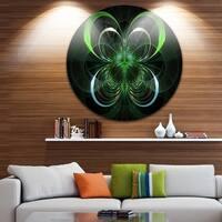 Designart 'Green Fractal Flower in Dark' Floral Digital Art Round Wall Art