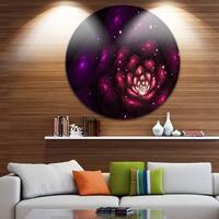 Designart 'Abstract Fractal Violet Flower' Floral Digital Art Large Disc Metal Wall art