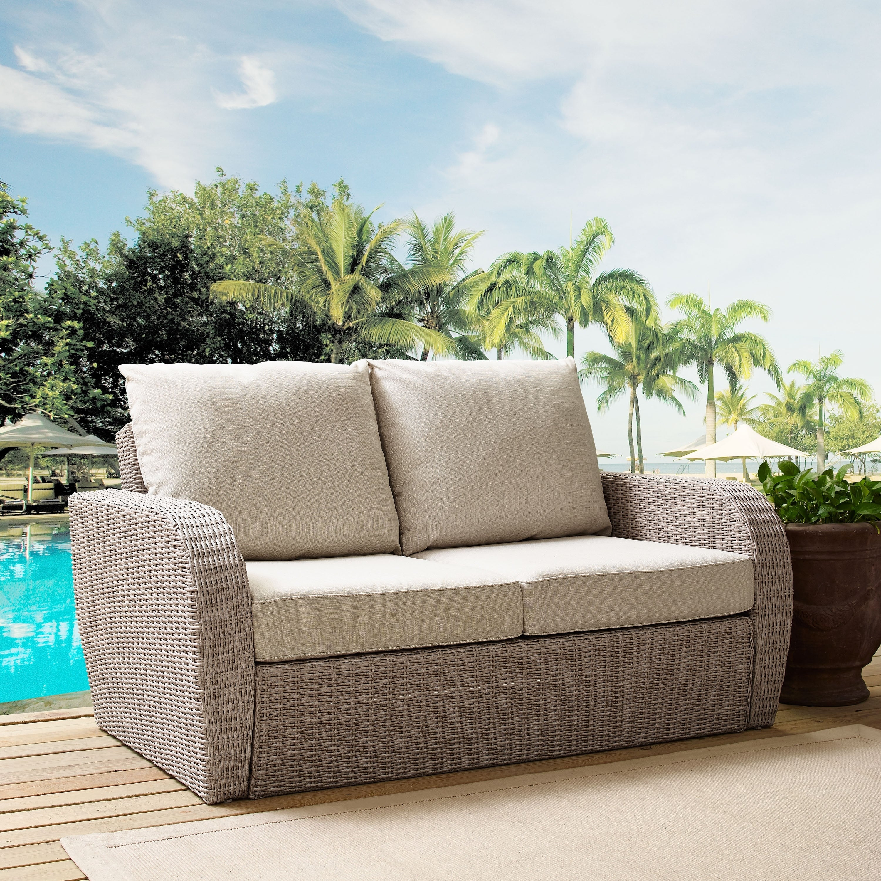 Surprising St Augustine Outdoor Wicker Loveseat In Weathered White With Universal Oatmeal Cushion Ocoug Best Dining Table And Chair Ideas Images Ocougorg