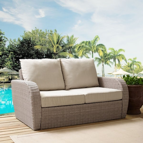 Crosley Furniture St. Augustine Weathered White Wicker Outdoor Loveseat