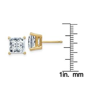 14 Karat Yellow Gold 7.0 mm Square Brilliant Pure Light Moissanite 4-Prong Basket Post Earrings