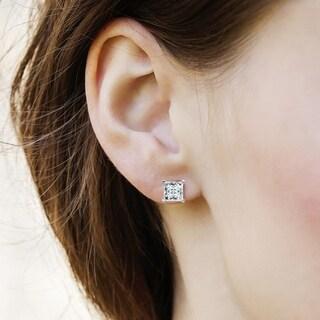 14 Karat White Gold 4.5 mm Square Brilliant Pure Light Moissanite 4-Prong Basket Post Earrings