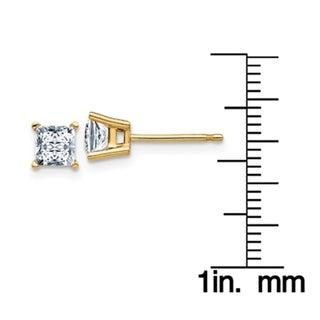 14 Karat Yellow Gold 4.0 mm Square Brilliant Pure Light Moissanite 4-Prong Basket Post Earrings