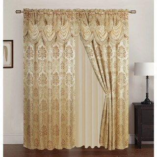 RT Designers Collection Benton Jacquard 84 inch Double Rod Pocket Curtain Panel with Attached 18 inch Valance - 54 x 84 in.