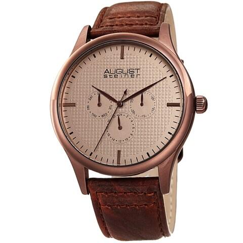 August Steiner Men's Quartz Date Day Checkered Brown Leather Strap Watch