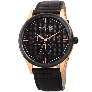 August Steiner Men's Quartz Date Day Checkered Black Leather Strap Watch