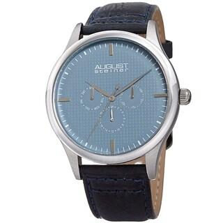 August Steiner Men's Quartz Date Day Checkered Blue Leather Strap Watch