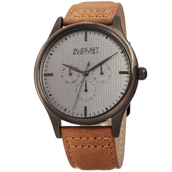 August Steiner Men's Quartz Date Day Checkered Light Brown Leather Strap Watch by August Steiner