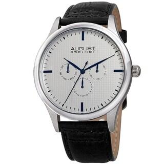 August Steiner Men's Quartz Date Day Checkered Black Leather Strap Watch