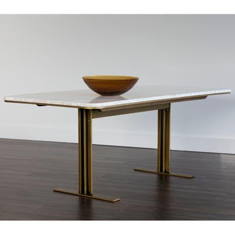 Zenn Ambrosia White Marble Rectangular Dining Table