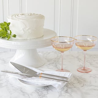 Personalized Blush Rose Gilded Rim Coupe Flutes and Serving Set
