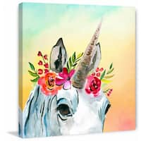 'Unicorn Flowers' Painting Print on Wrapped Canvas