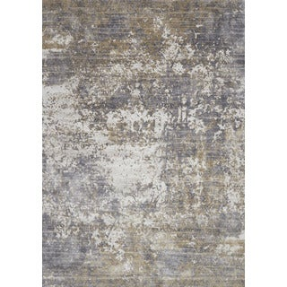 """Distressed Abstract Grey/ Taupe Textured Vintage Rug (2'7 x 4') - 2'7"""" x 4'"""