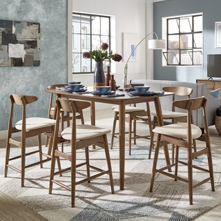 Norwegian Danish Mid-Century Dark Walnut Counter Height Dining Set by iNSPIRE Q Modern (4 options available)