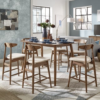 Norwegian Danish Mid-Century Dark Walnut Counter Height Dining Set by iNSPIRE Q Modern