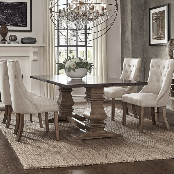 Terrific Shop Janelle Extended Rustic Zinc Dining Set With Tufted Cjindustries Chair Design For Home Cjindustriesco
