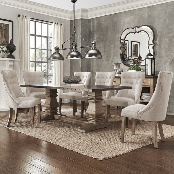 Swell Shop Janelle Extended Rustic Zinc Dining Set With Tufted Cjindustries Chair Design For Home Cjindustriesco