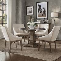Janelle Round Rustic Zinc Dining Set - Sloped Arm Chairs by iNSPIRE Q Artisan