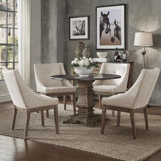 Round kitchen dining room sets for less overstock janelle round rustic zinc dining set sloped arm chairs by inspire q artisan 5 workwithnaturefo