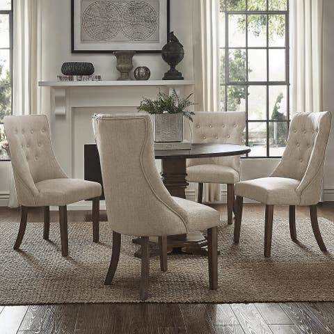 Janelle Round Rustic Zinc Dining Set - Tufted Chairs by iNSPIRE Q Artisan