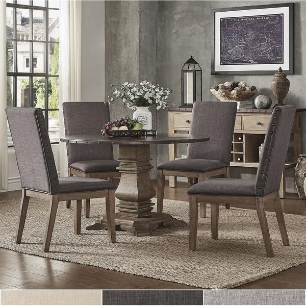 Shop Janelle Round Rustic Zinc Dining Set Parson Chairs