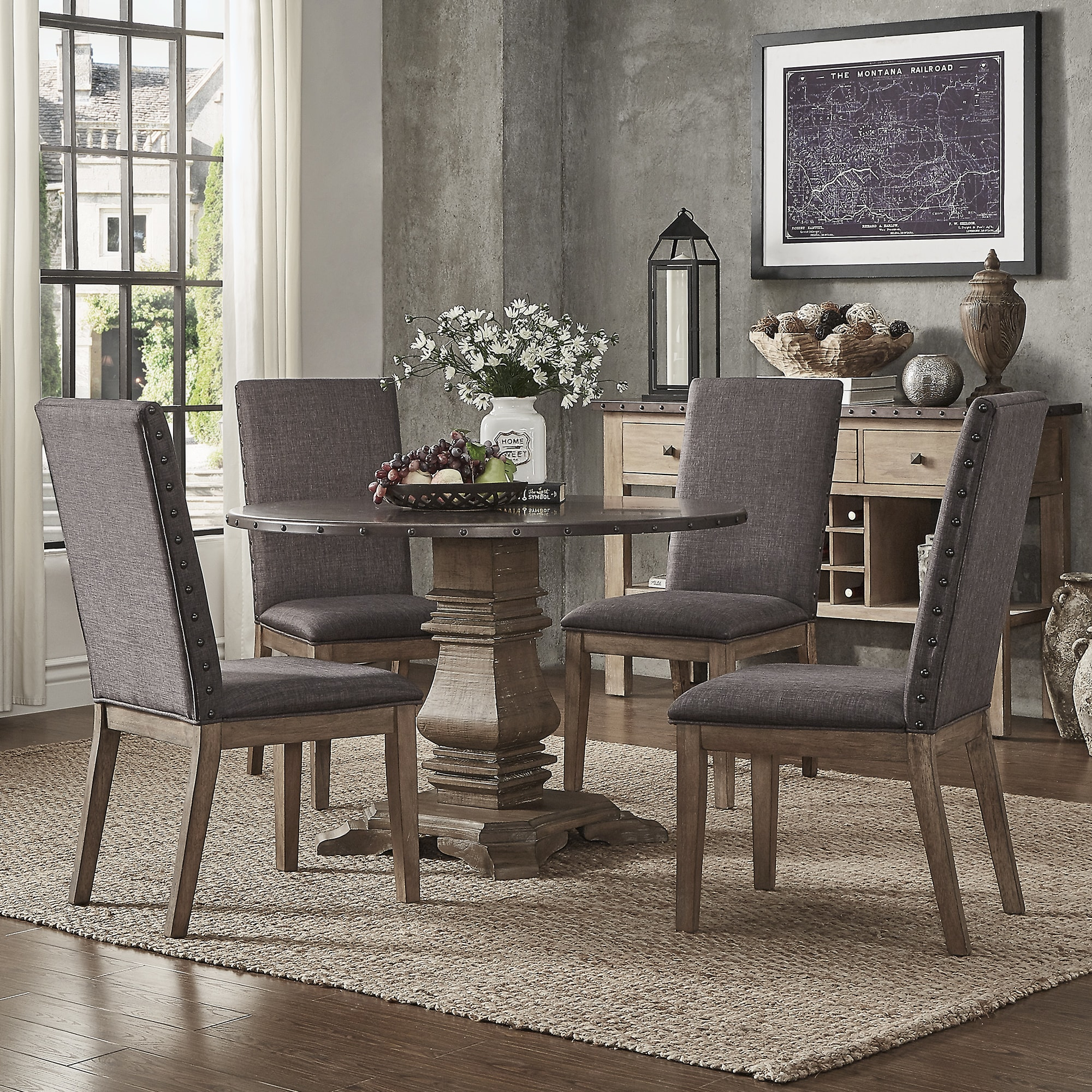 Prime Janelle Round Rustic Zinc Dining Set Parson Chairs By Inspire Q Artisan Cjindustries Chair Design For Home Cjindustriesco