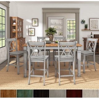 Link to Elena Antique Grey Extendable Counter Height Dining Set - Double X Back by iNSPIRE Q Classic Similar Items in Dining Room & Bar Furniture
