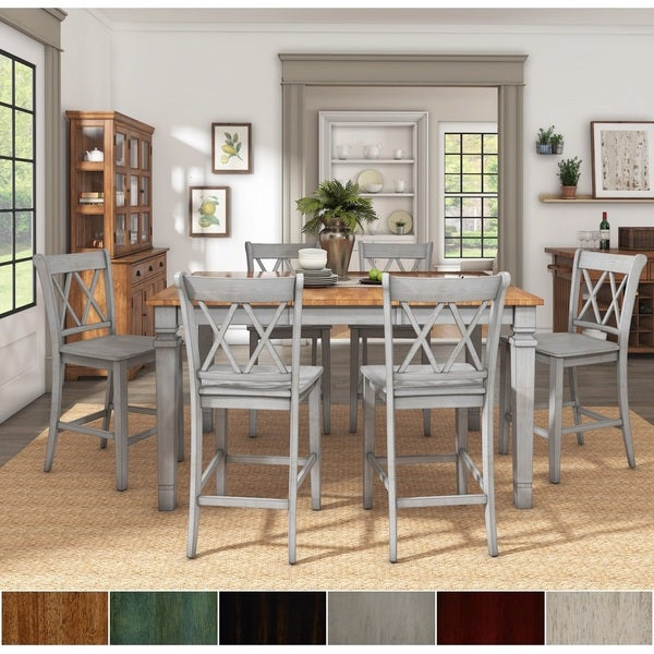 Elena Antique Grey Extendable Counter Height Dining Set - Double X Back by iNSPIRE Q Classic