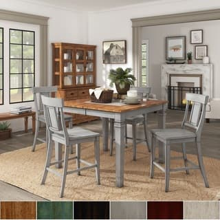 Elena Antique Grey Extendable Counter Height Dining Set Panel Back By Inspire Q Clic
