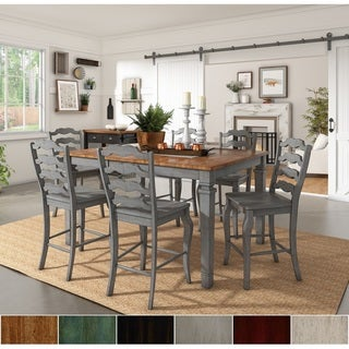 Link to Elena Antique Grey Extendable Counter Height Dining Set - French Ladder Back by iNSPIRE Q Classic Similar Items in Dining Room & Bar Furniture