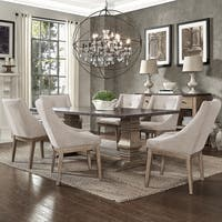 Janelle Extended Rustic Zinc Dining Set - Sloped Arm Chairs by iNSPIRE Q Artisan