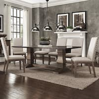Janelle Extended Rustic Zinc Dining Set - Parson Chairs by iNSPIRE Q Artisan