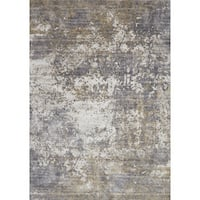 "Distressed Abstract Grey/ Taupe Textured Vintage Rug - 6'7"" x 9'2"""