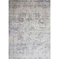 "Distressed Transitional Grey Floral Vintage Rug - 6'7"" x 9'2"""
