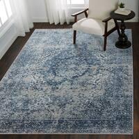 Distressed Transitional Blue/ Grey Floral Vintage Rug - 6'7 x 9'2