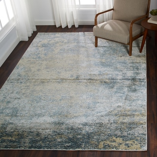 """Distressed Transitional Blue/ Gold Pebble Mosaic Rug - 6'7"""" x 9'2"""""""