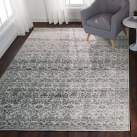 Distressed Transitional Grey Stone Vintage Damask Rug - 6'7 x 9'2