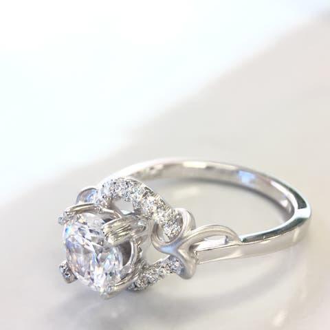 Lihara and Co. 18k White Gold 1/5CT TDW White Diamond Halo Semi-Mount Engagement Ring (G-H, VS1-VS2) - White G-H