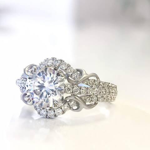 Lihara and Co. 18k White Gold 0.43 TDW White Diamond Semi-Mount Engagement Ring (G-H, VS1-VS2) - White G-H