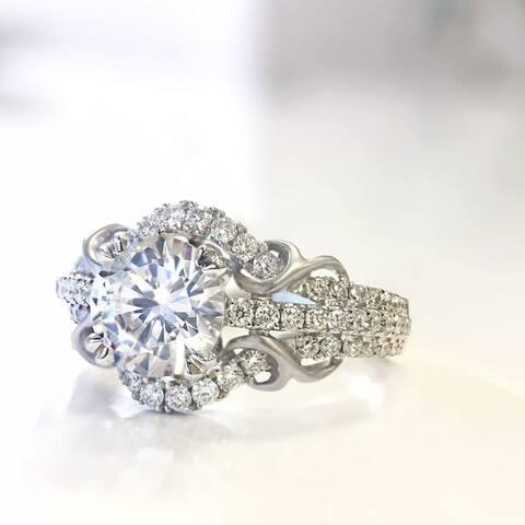 Lihara and Co. 18k White Gold 0.43 TDW White Diamond Semi-Mount Engagement Ring (G-H, VS1-VS2) - White G-H - White G-H