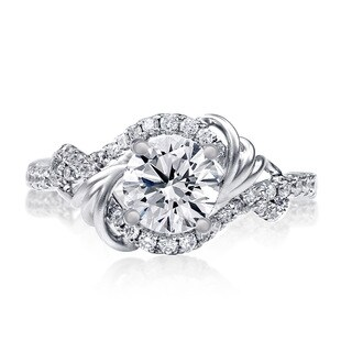 Lihara and Co. 18k White gold 1/3ct TDW White Diamond Semi-Mount Halo Engagement Ring (G-H, VS1-VS2)