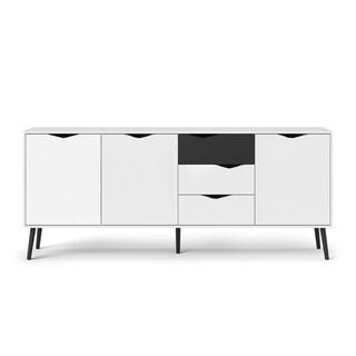 Carson Carrington Kristiansund White and Matte Black 3-drawer 3-door Sideboard