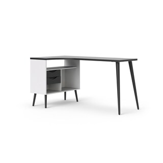 Diana White and Matte Black 2-drawer L-shaped Desk