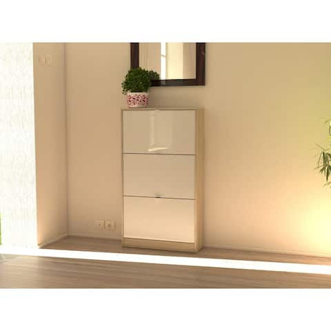 Bright Oak and White High Gloss 3 Flap Doors Shoe Cabinet