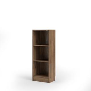 Porch & Den Alethea Walnut-finish Short Narrow 3-shelf Bookcase
