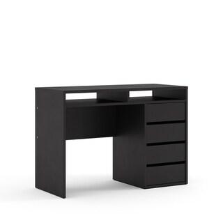 Wyatt Matte Black 4-drawer 2-shelf Rectangular Desk