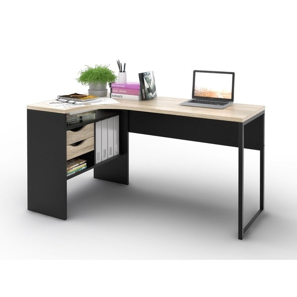 Porch Den Skylar Matte Black Oak 2 Drawer L Shaped Desk