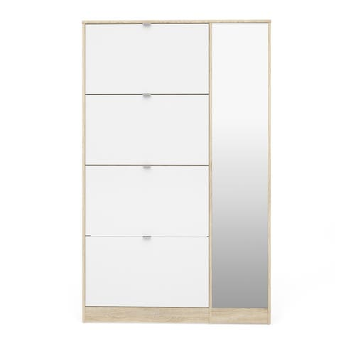 Bright Oak and White High Gloss 4 Flap Doors Shoe Cabinet